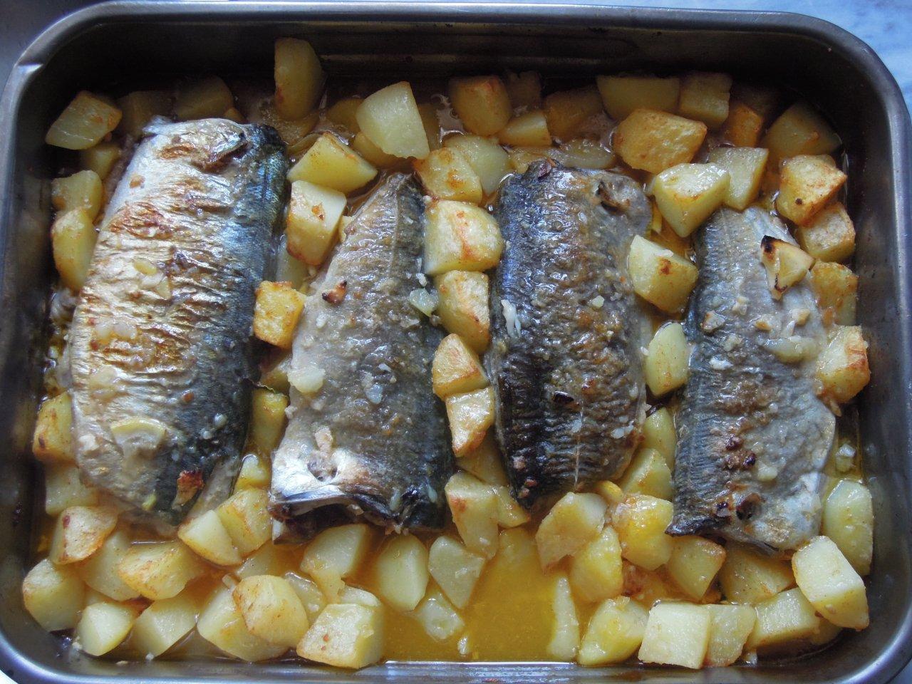 Grafe e Faca Cavalas do Mar assadas no forno