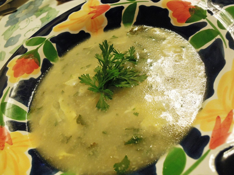 Sopa de milho com coentros, que coisa deliciosa