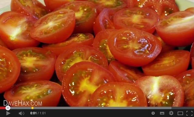 Tomates cherry: um truque para cortar vários ao mesmo tempo
