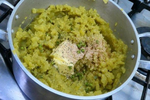 Puré de batata doce com manjericão