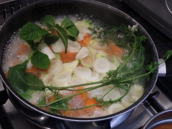 sopa de cenoura e alho francês