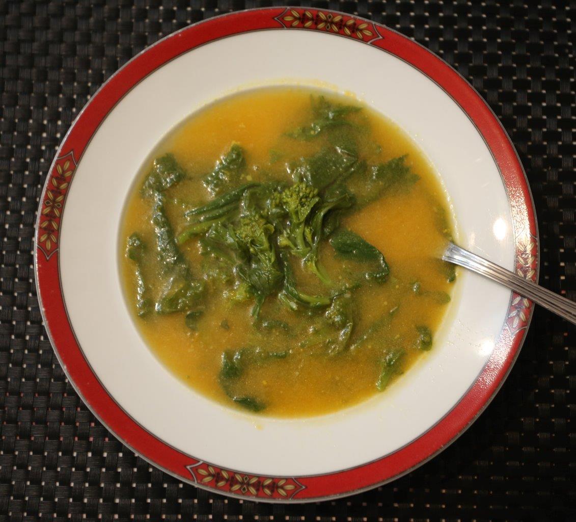 Sopa de Abóbora com Grelos de Nabo