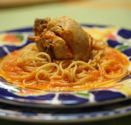 frango do campo com esparguete - Frango do campo com esparguete
