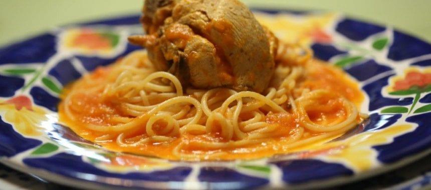 Frango do campo com esparguete