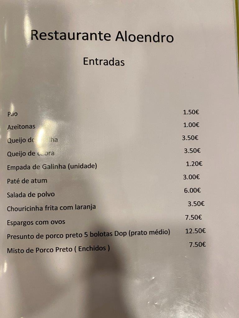 Um jantar no Restaurante Aloendro em Reguengos de Monsaraz Aloendro 1